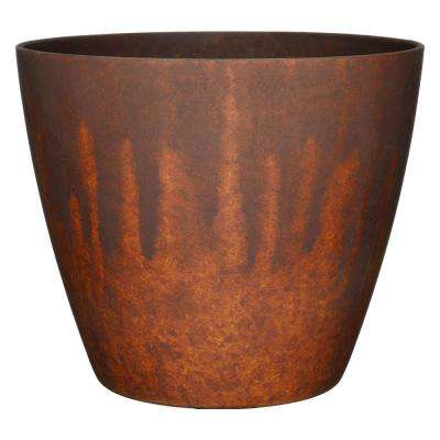 Vogue 8 in. Burnished Rust Resin Planter