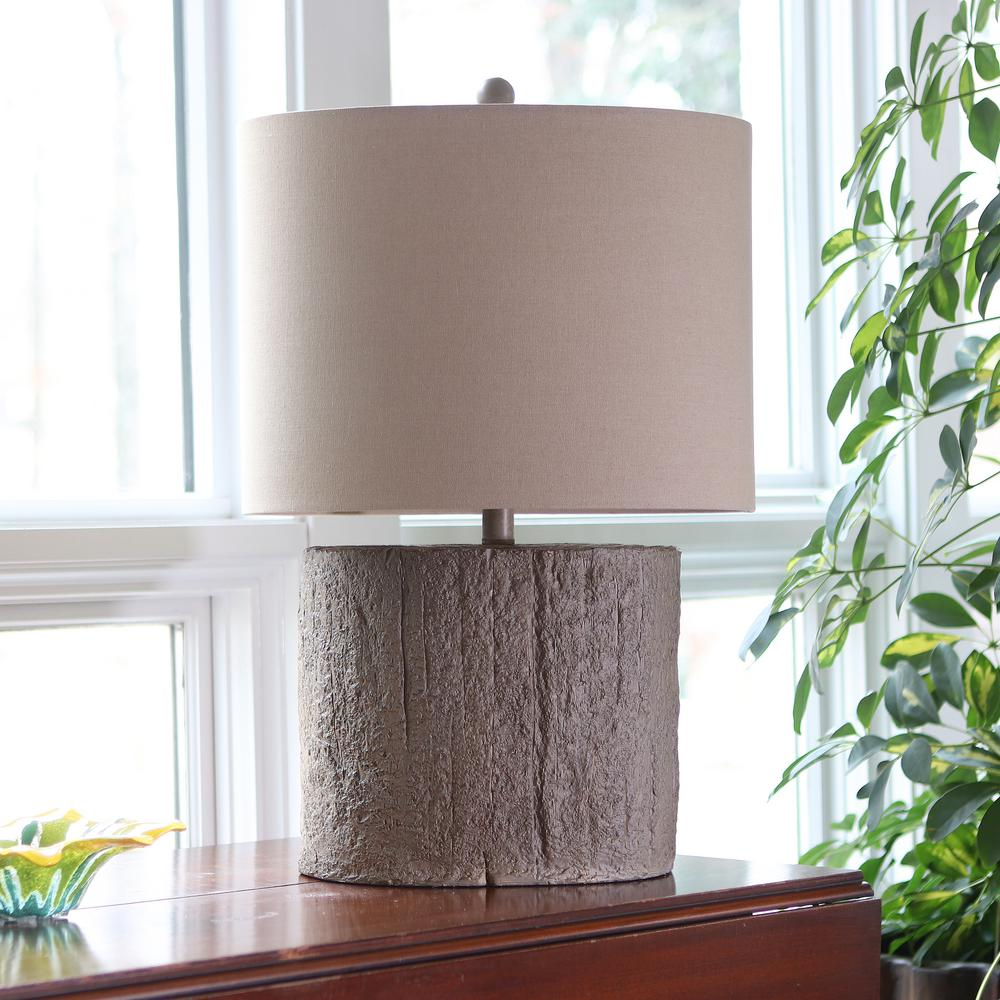 Maris Driftwood 25.75 in. Brown Table Lamp with Linen Shade