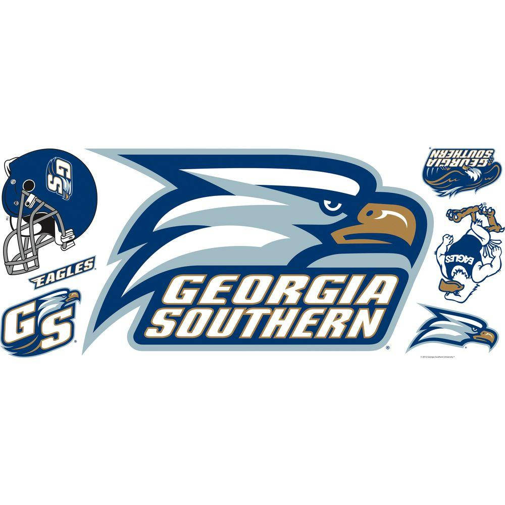 null 18 in. x 40 in. Georgia Southern University 10-Piece Peel and Stick Giant Wall Decals