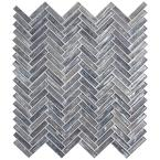 Shimmering Silver Herringbone 12.60 in. x 11.06 in. x 8mm Glossy Glass Mesh-Mounted Mosaic Tile ( 9.7 sq.ft. )