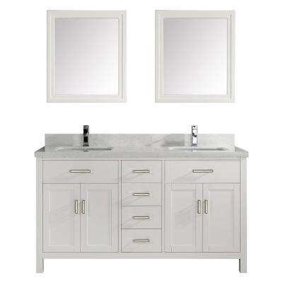 Kalize II 63 in. W x 22 in. D Vanity in White with Engineered Vanity Top in White with White Basin and Mirror
