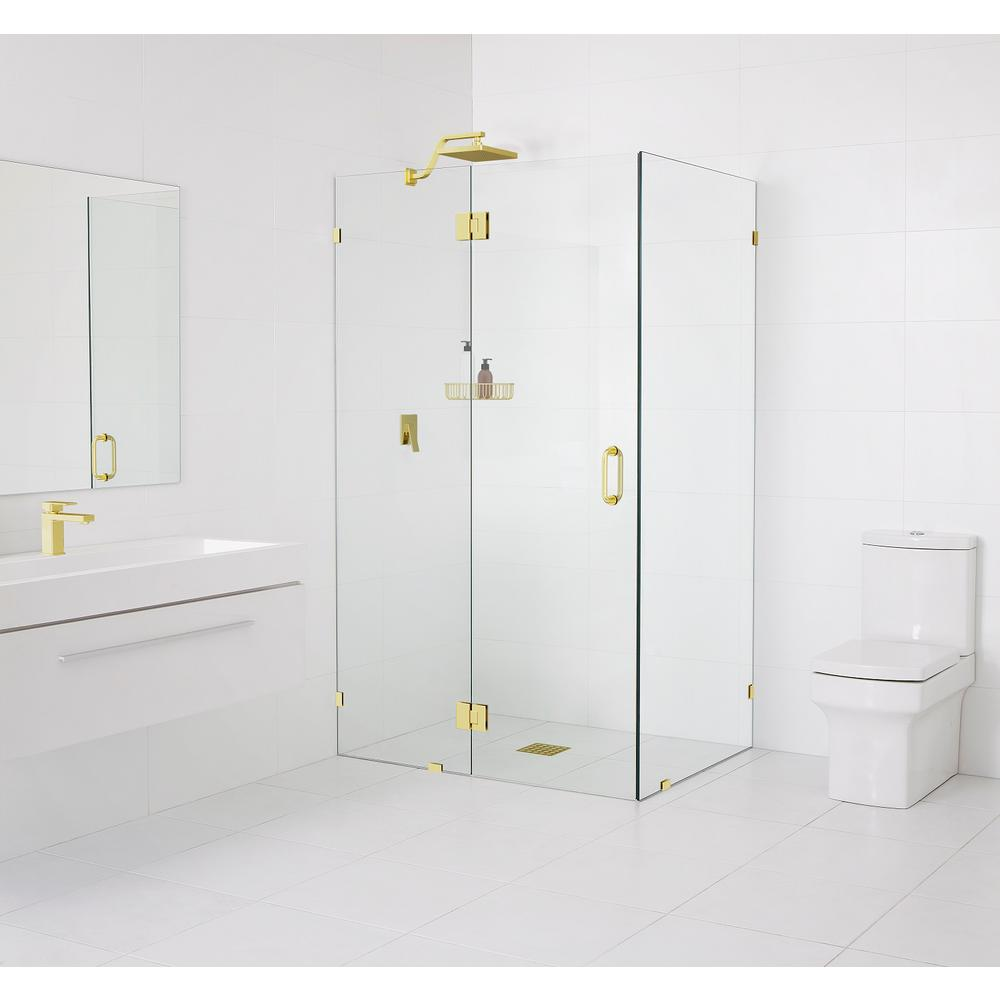 Glass Warehouse 90° Glass-Hinged 34 in. x 78 in. x 34 in. Frameless Pivot Shower Door in Polished Brass