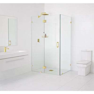 90° Glass-Hinged 34 in. x 78 in. x 34 in. Frameless Pivot Shower Door in Polished Brass