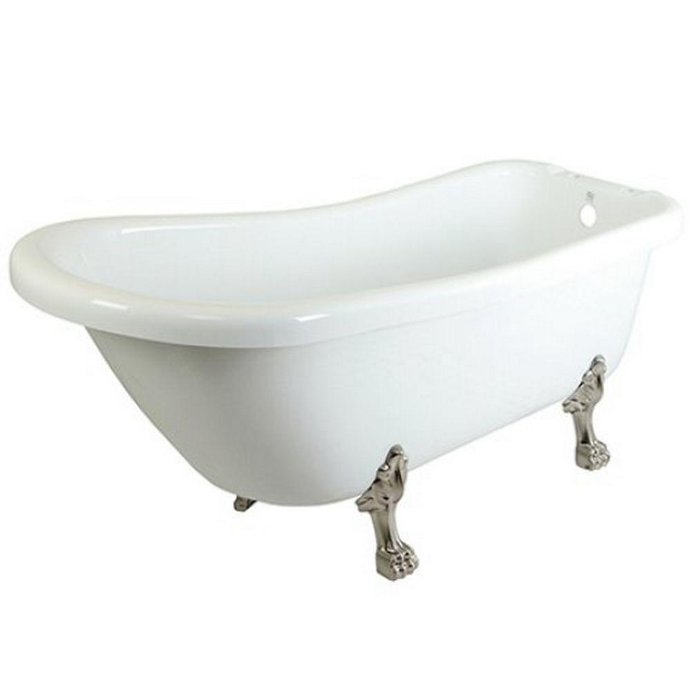 5.6 ft. Acrylic Satin Nickel Claw Foot Slipper Oval Tub with