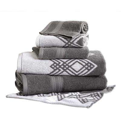 Popcorn Diamond 6-Piece Cotton Bath Towel Set in Platinum