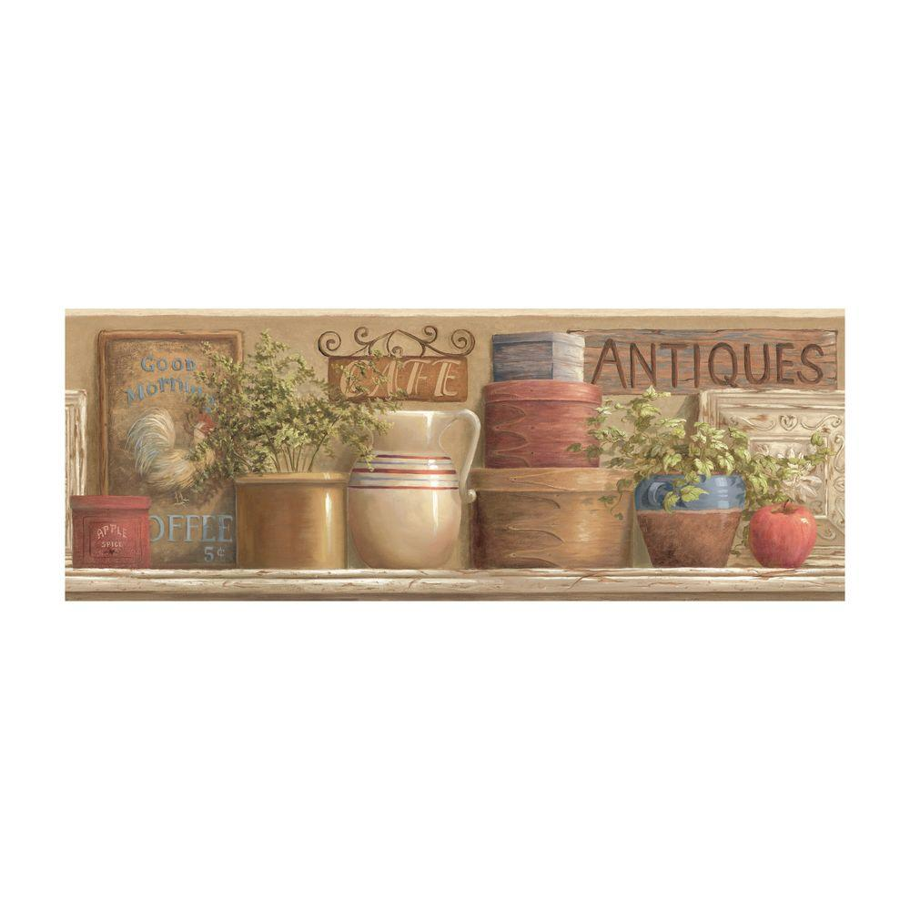 York Wallcoverings 9 in. Antique Country Shelf Border-DISCONTINUED