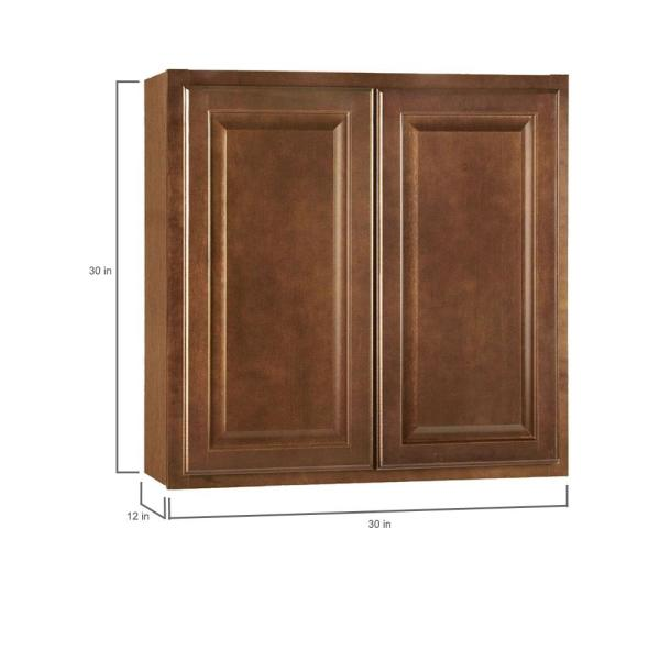 Hampton Bay Hampton Assembled 30x30x12 In Wall Kitchen Cabinet In Cognac Kw3030 Cog The Home Depot
