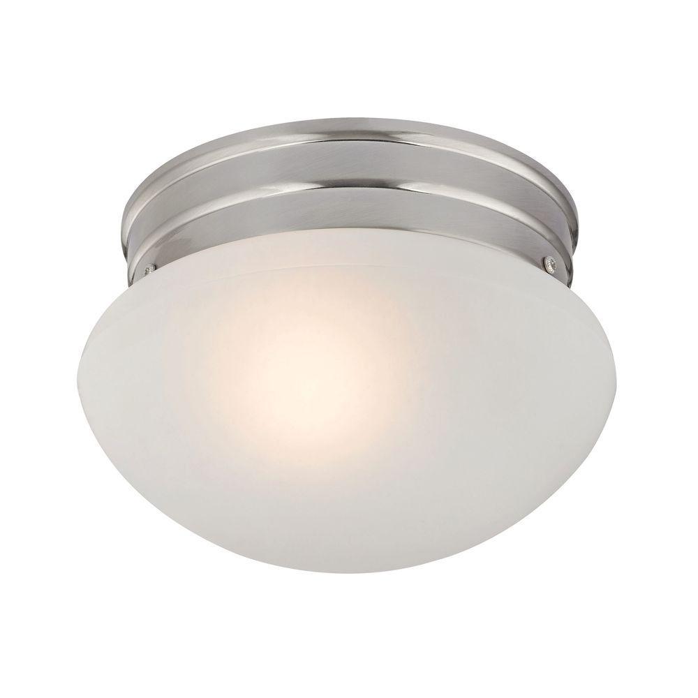 1-Light Brushed Nickel Mushroom Flushmount