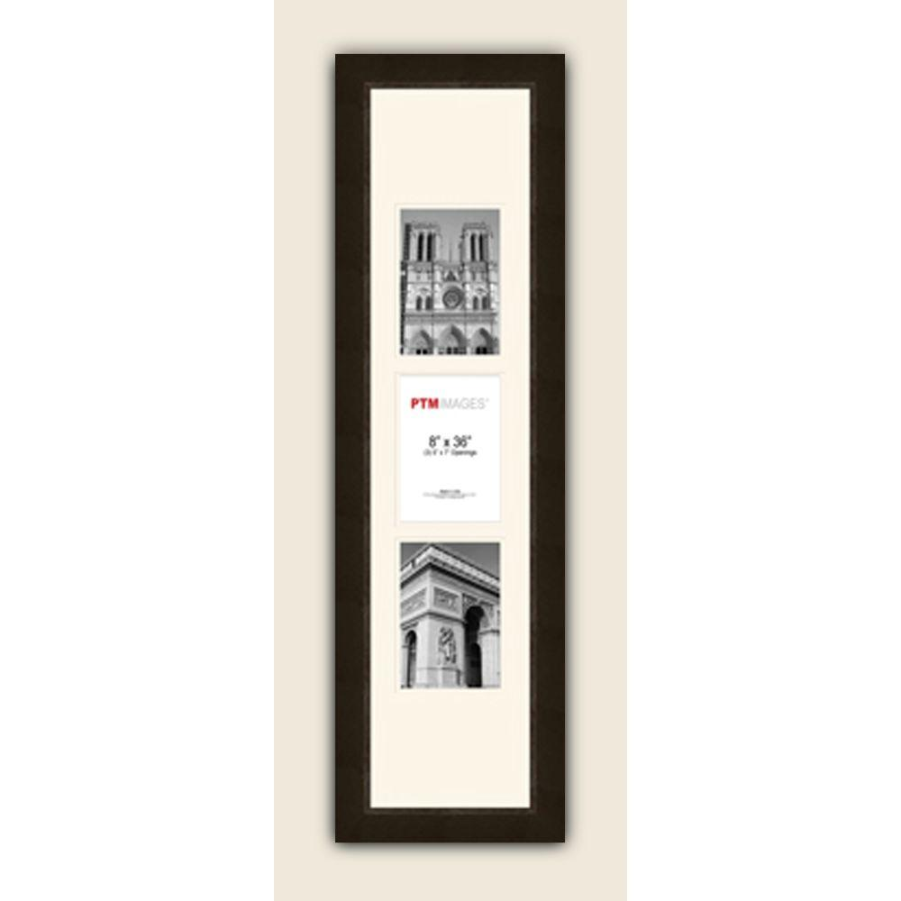 PTM Images 3-Opening Vertical 5 in. x 7 in. White Matted Espresso Photo Collage Frame