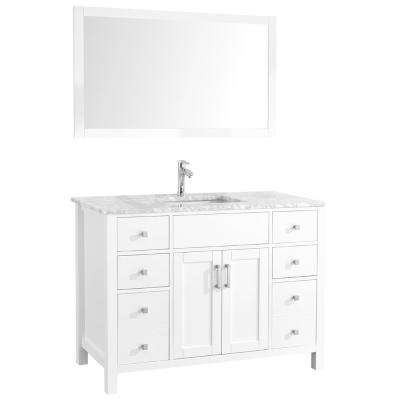 Amaya 48 in. Bathroom Vanity in White with Marble Vanity Top in Cararra White with White Ceramic Basin and Mirror