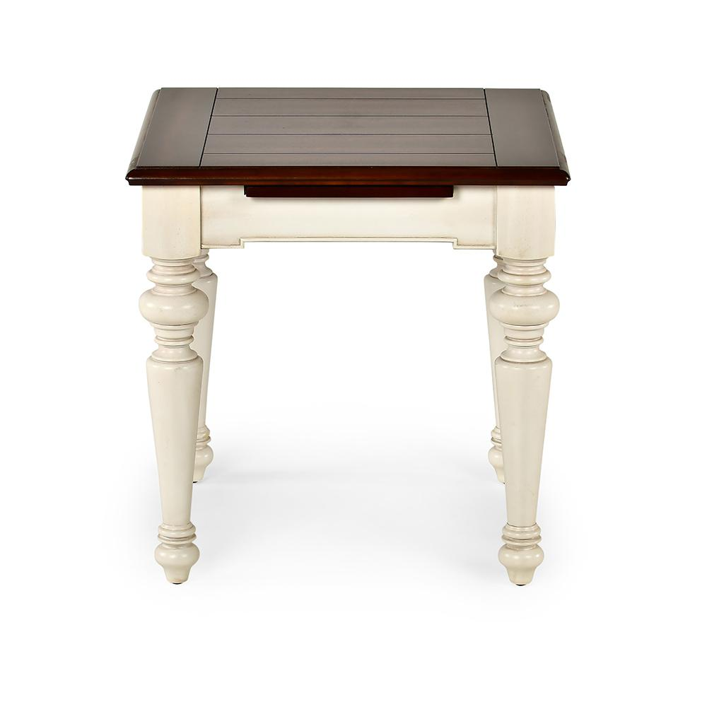 Wesley White And Walnut Cottage Style Square End Table