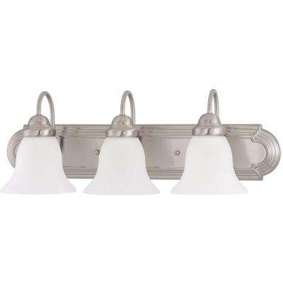 3-Light Brushed Nickel Vanity Light with Frosted White Glass
