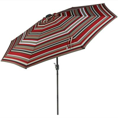 9 ft. Aluminum Market Solar Tilt Patio Umbrella in Awning Stripe