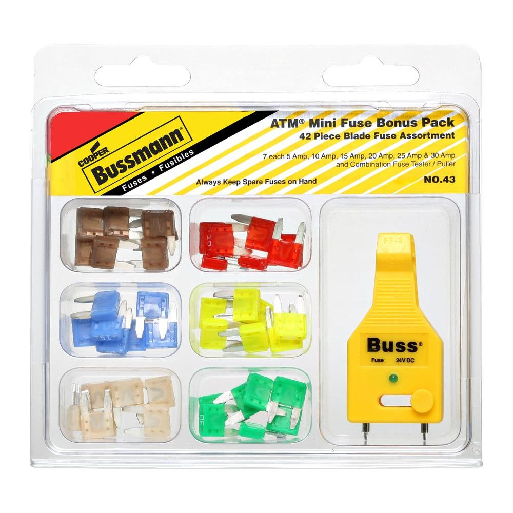 Fuses Power Distribution The Home Depot Buss S Type Fuse Box Atm 42 Piece Automotive Mini Blade Kit With Tester Puller