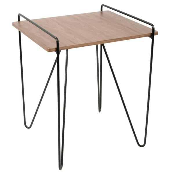 Lumisource Loft Walnut and Black End Table with Metal Hairpin Legs
