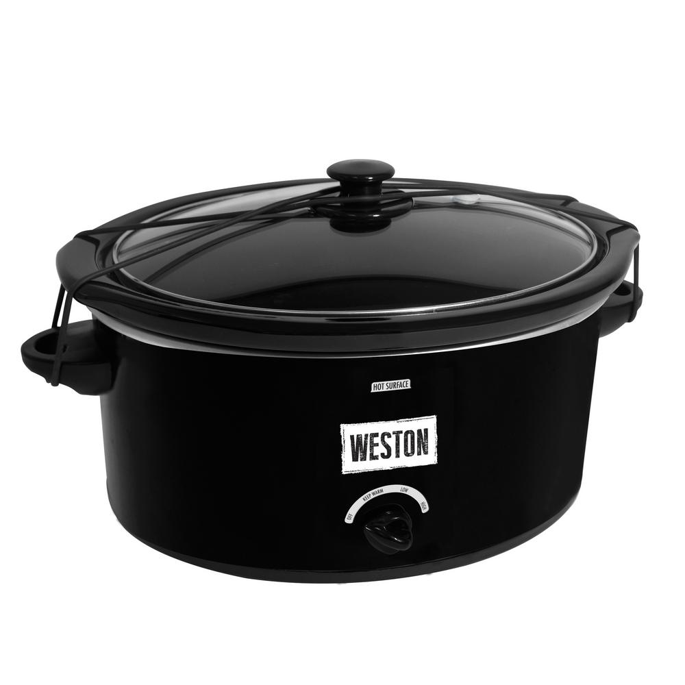 8 Qt, Slow Cooker with Lid Latch Strap, Black The Weston 8 Qt. Slow Cooker is the perfect way to bring food to a family gathering, a potluck or even a tailgating party. With the Lid Latch strap and gasket lid, transporting is mess-free. Slow cookers are great when life is busy, and you can come home to favorite ready to eat meals. Great for making soups, stews, dips, roasts and so much more! This oval shaped size will fit a 7 lb. chicken or 7 lb. roast. There are three convenience settings for high, low and keep warm cooking. Color: Black.