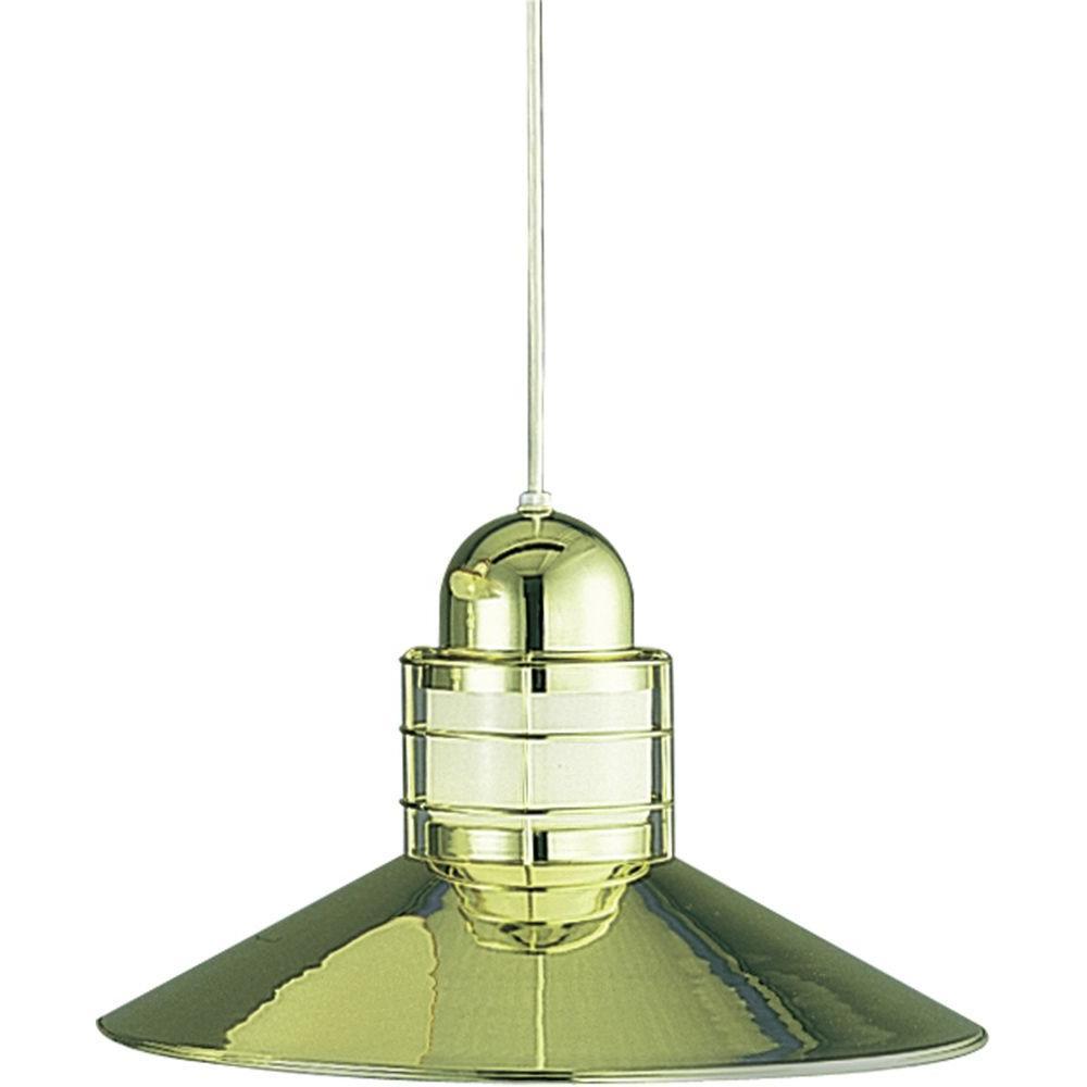 1-Light Polished Brass Interior Pendant