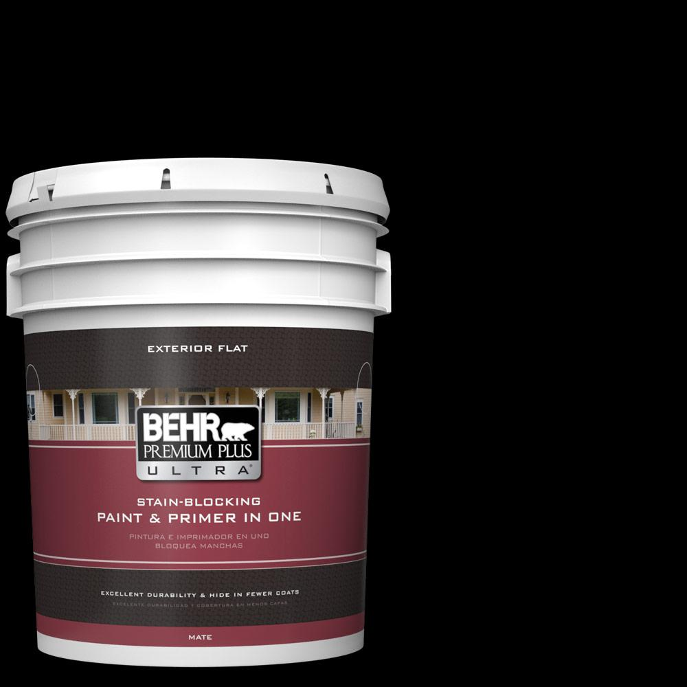 Behr Premium Plus Ultra 5 Gal Black Flat Exterior Paint And Primer In One 485305 The Home Depot