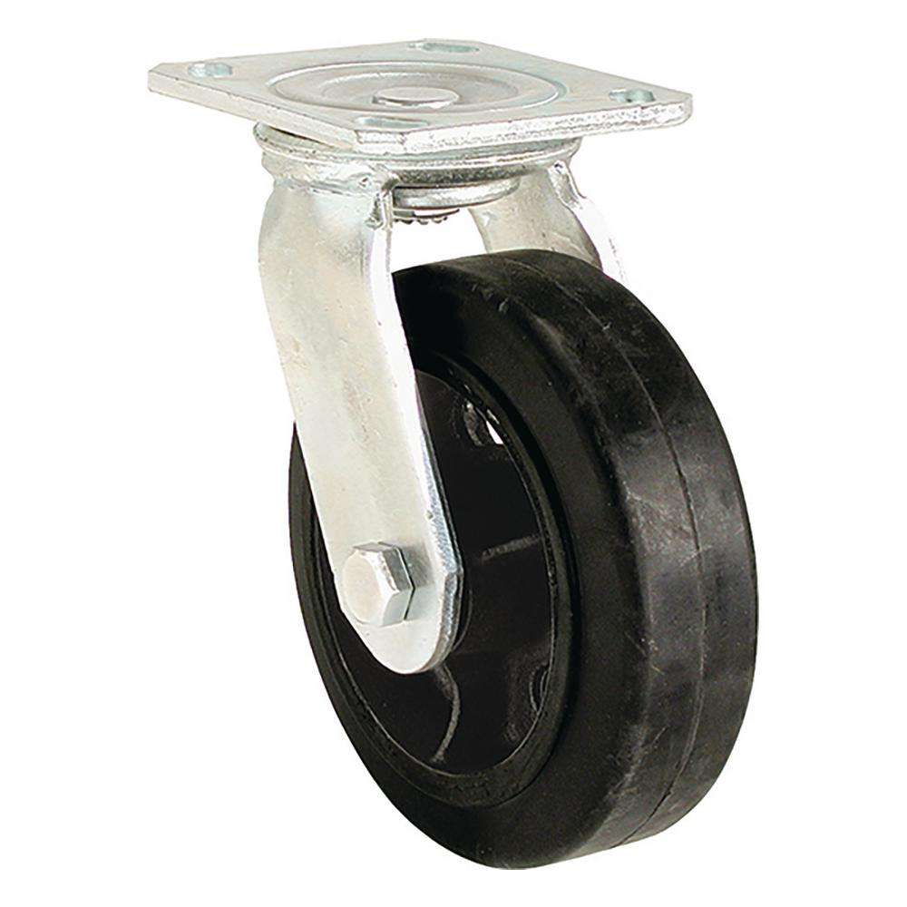 5 in. Mold-On Rubber Rigid Caster with 330 lb. Load Rating