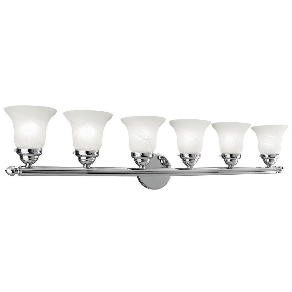 6-Light Chrome Bath Light with White Alabaster Glass