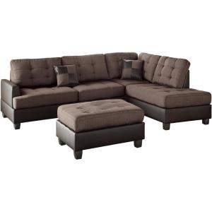 Genoa 3 Piece Sectional Sofa In Chocolate With Ottoman