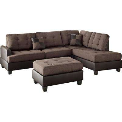 Genoa 3-Piece Sectional Sofa in Chocolate with Ottoman