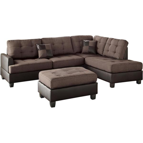 Cool Venetian Worldwide Genoa 3 Piece Sectional Sofa In Chocolate Gmtry Best Dining Table And Chair Ideas Images Gmtryco