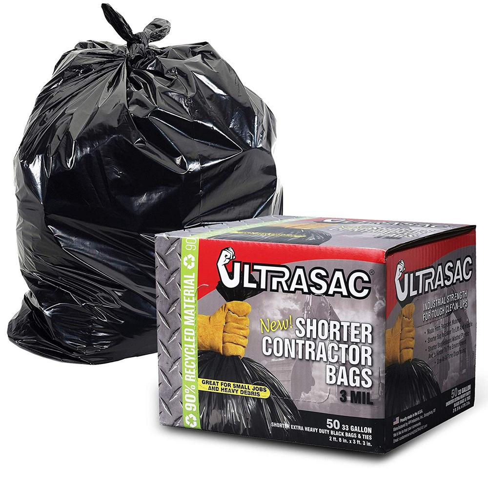 33 Gal Short Contractor Bags W Flaps Waste Trash Bag Extra Heavy Duty 50 Count