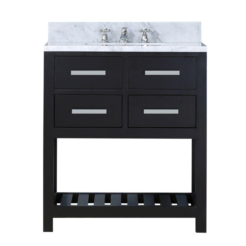 Water Creation 30 in. W x 21.5 in. D Vanity in Espresso with Marble Vanity Top in Carrara White and Chrome Faucet