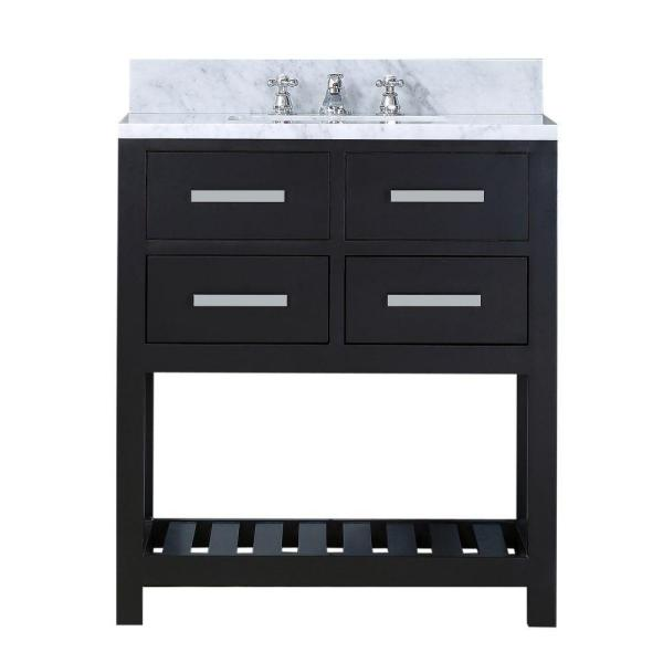 30 in. W x 21.5 in. D Vanity in Espresso with Marble Vanity Top in Carrara White and Chrome Faucet