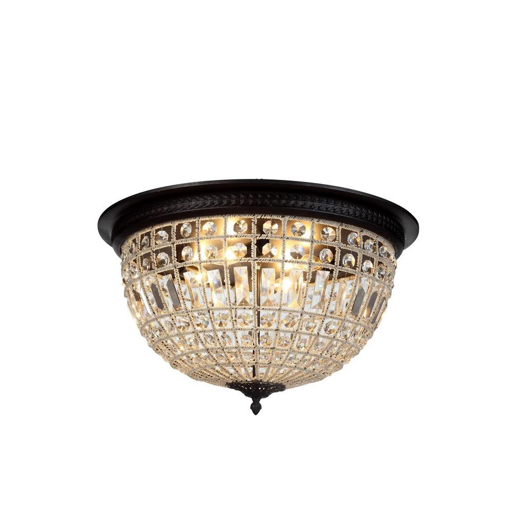 Elegant Lighting Olivia 4 Light Dark Bronze Royal Cut Crystal Flushmount