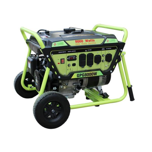 Green-Power Green Power 8000/6500-Watt Gasoline Powered Recoil Start Portable Generator with LCT 420cc 15HP Engine, 3in1 Indicator