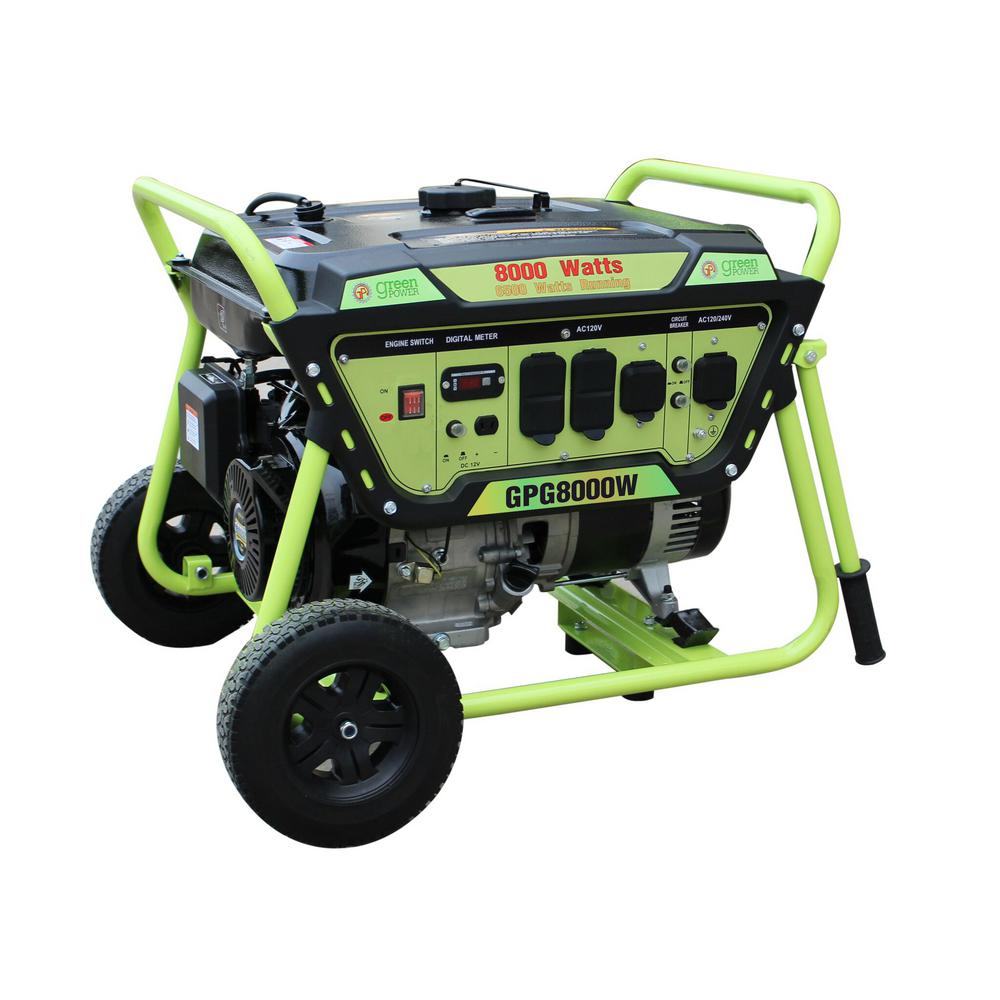 Green Power 8000/6500-Watt Gasoline Powered Recoil Start Portable Generator with