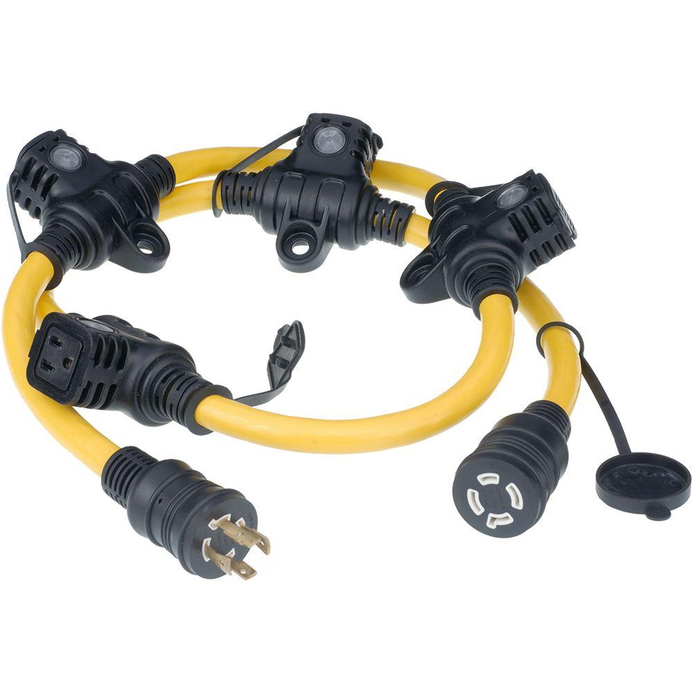 null 5 ft. 12/4 5-Outlet Generator Cord - Yellow