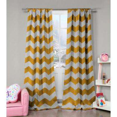 Stripe Yellow Polyester Blackout Pole Top Window Curtain - 39 in. W x 84 in. L (2-Pack)