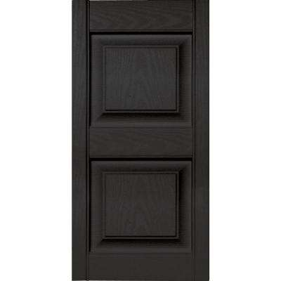 15 in. x 31 in. Raised Panel Vinyl Exterior Shutters Pair in #002 Black