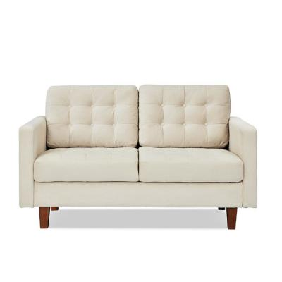 Sophia 58 in. Ivory Tufted Velvet 2-Seater Loveseat with Removable Cushions