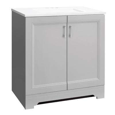 Willowridge 30-1/2 in. W Bath Vanity in Dove Gray with Cultured Marbled Vanity Top in White with White Sink