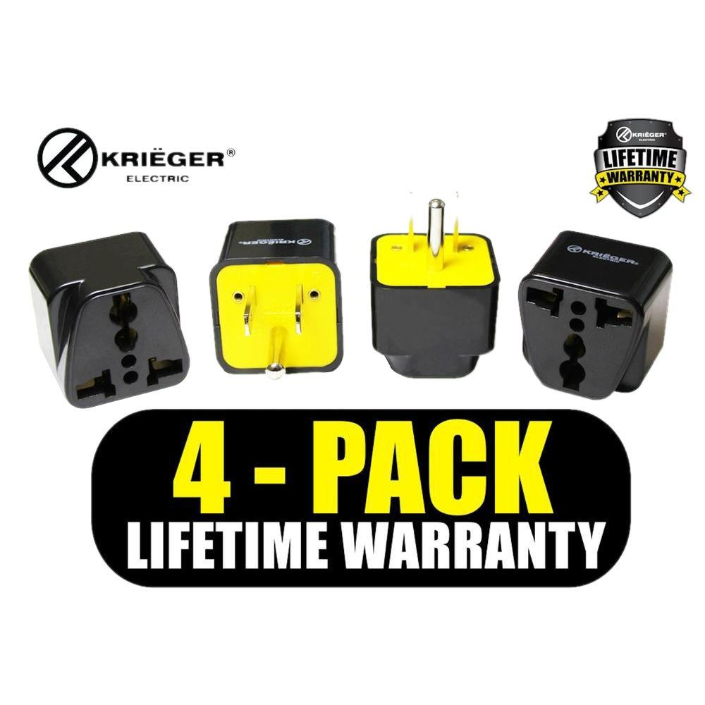 662d7f48296 Krieger Universal to American Plug Adapter (4-Pack)-KR-AMR4 - The Home Depot