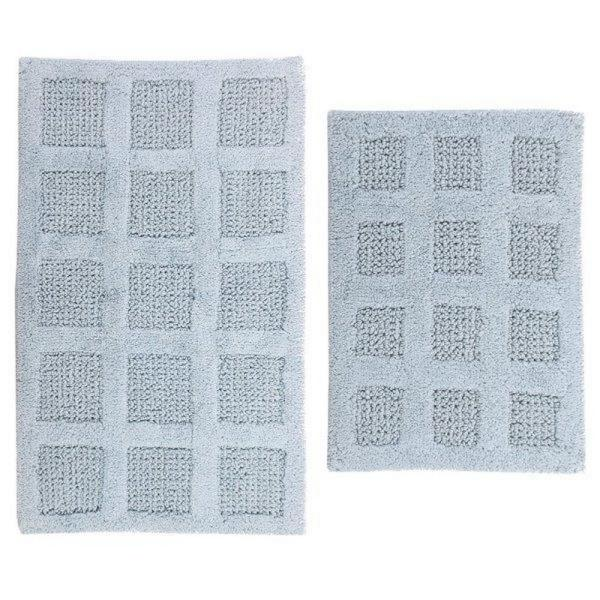 PERTHSHIRE Square Honey Comb Light Blue 17 in. x 24 in. and 30 in. x 20 in. 2-Piece Reversible Bath Rug Set