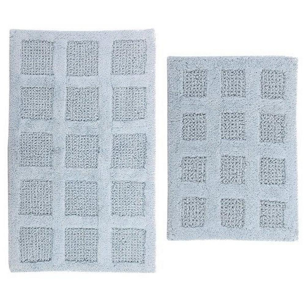 17 In. X 24 In. And Light Blue 21 In. X 34 In. Square Honey Comb Reversible Bath Rug Set (2 Piece)