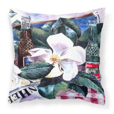 14 in. x 14 in. Multi-Color Lumbar Outdoor Throw Pillow Barqs and Magnolia Decorative Canvas Fabric Pillow
