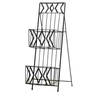 Black Metal 2-Tier Magazine Rack