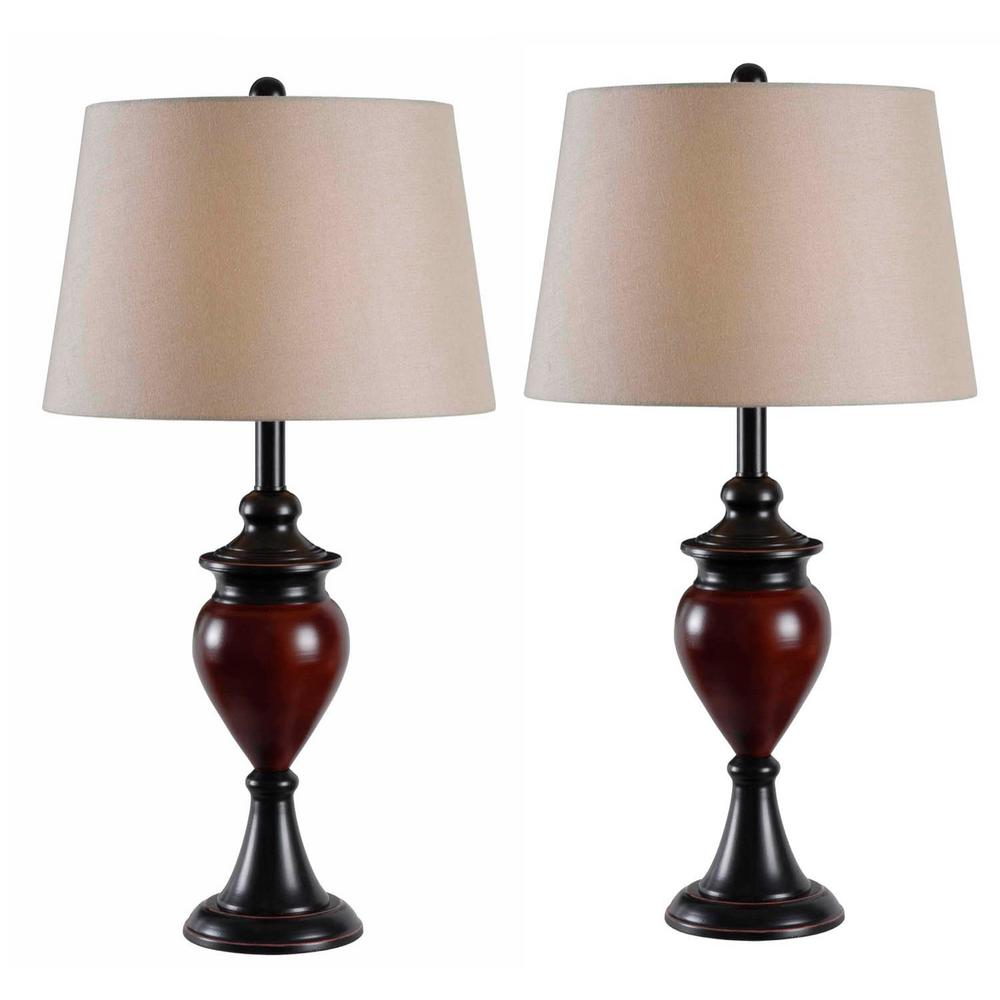 Elliot 29 in. Bronze Table Lamps with Tan Shade