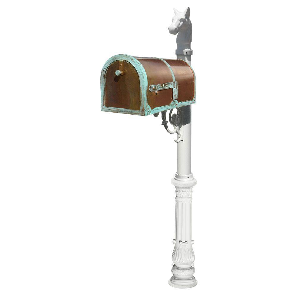 QualArc MB-3000 Antique Brass Patina Post Mount Non-Locking Mailbox with White Lewiston Post System