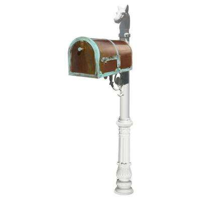 MB-3000 Antique Brass Patina Post Mount Non-Locking Mailbox with White Lewiston Post System