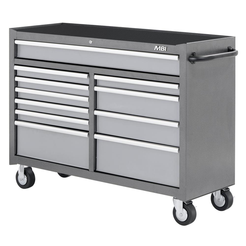 52 in. 11-Drawer Mobile Work Center Silver Vein