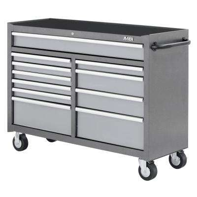 52 in. 11-Drawer Mobile Work Center Silver Vein