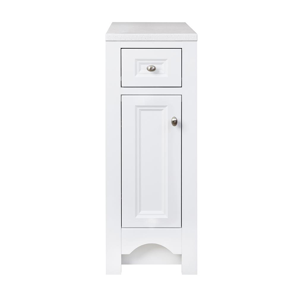 Glacier Bay Modular 12 in. W x 18.75 in. D x 30.88 in. H Floor Hutch in White with Solid Surface Technology Top in Silver Fox