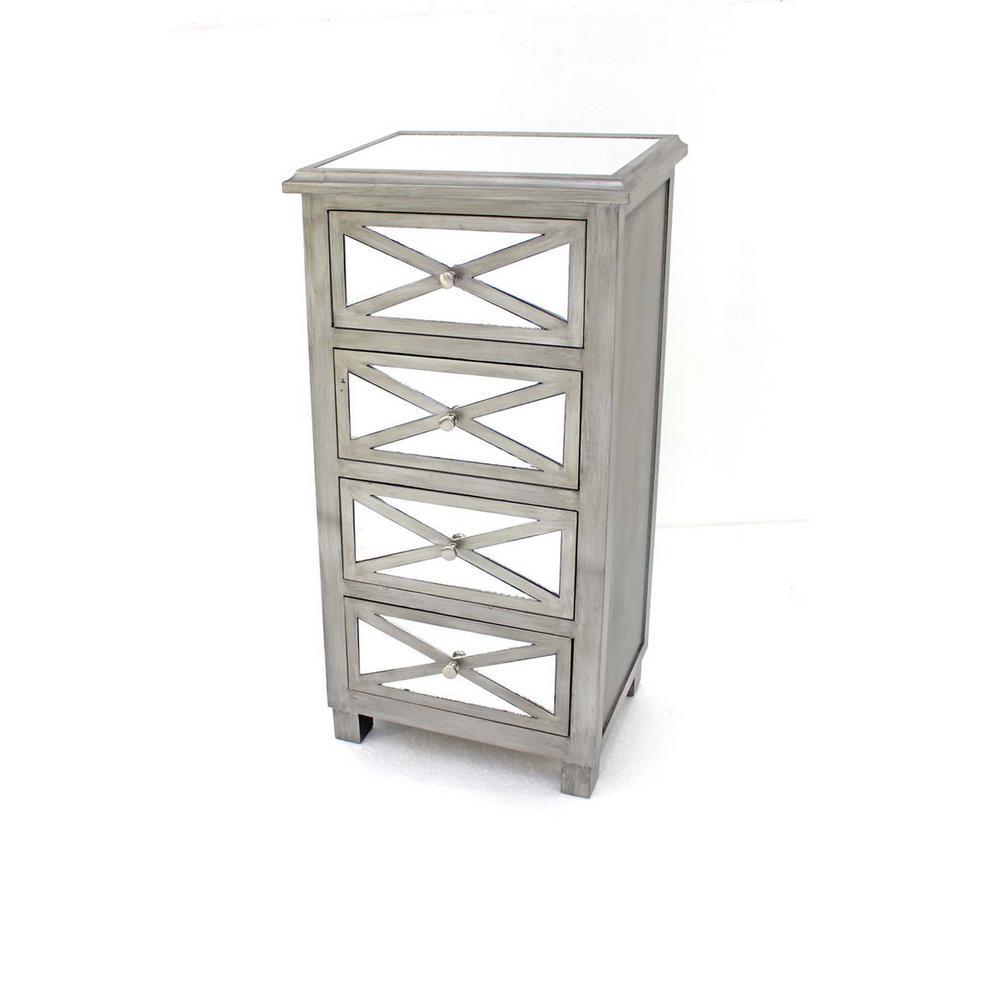 Grey Wood Mirror 4-Drawer Storage Cabinet AF-053